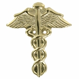 CADUCEUS GOLD PLATED PIN 5/8
