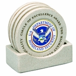 CAST STONE COASTERS WITH HOLDS 2 INCH INSERT