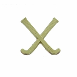 CROSSED FIELD HOCKEY STICKS CHENILLE PIN GOLD