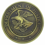 DEPARTMENT OF JUSTICE 4-1/2 INCH MODELED PLAQUE MOUNT