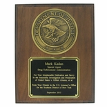 DEPARTMENT OF JUSTICE PLAQUE, SIMULATED WALNUT, 8 X 10 INCHES