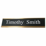 10 X 2 INCH TWO PLY BLACK PLASTIC NAME PLATE