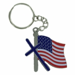 DIE CAST CROSS WITH AMERICAN FLAG PEWTER KEY CHAIN