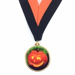 DIGITAL PUMPKIN INSERT ON MEDAL FRAME WITH BLACK & ORANGE RIBBON
