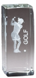 4 1/2 x 2 FEMALE GOLF TROPHY CRYSTAL LASER ENGRAVED IMAGE