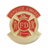FIRE DEPARTMENT SERVICE AWARD PIN - PLAIN OR STOCK IMPRINT