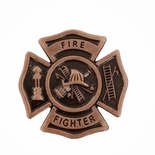FIRE FIGHTER MALTESE CROSS LAPEL PIN, SIZE 7/8 INCH