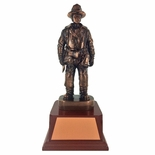 FIREFIGHTER TROPHY, 14 INCH, ELECTROPLATED IN ANTIQUE BRONZE