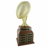 FOOTBALL PERPETUAL TROPHY, HEIGHT 20 INCHES, 10-1/2 INCH GOLD BALL, 32 PLATES