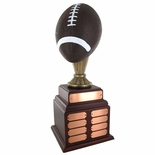 FOOTBALL PERPETUAL TROPHY, HEIGHT 20 INCHES, 10-1/2 INCH PAINTED BALL,32 PLATES