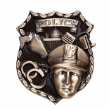 FULLY MODELED METAL POLICE ANTIQUE BRASS FINISH PLAQUE MOUNT, 4-1/2 x 5