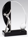 6 3/4x 4 3/4 METAL SILVER GOLFER MOUNTED ON BLACK AND CLEAR CRYSTAL
