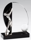 6x 4 3/4 METAL SILVER GOLFER MOUNTED ON BLACK AND CLEAR CRYSTAL