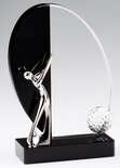 8x 5 METAL SILVER GOLFER MOUNTED ON BLACK AND CLEAR CRYSTAL