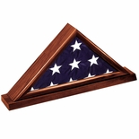 GENUINE DARK CHERRY WOOD FLAG CASE, HOLDS 3 X 5 INCH AMERICAN FLAG