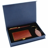 GIFT SET: ROSEWOOD KEY CHAIN, CARD CASE AND PEN