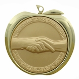 HANDSHAKE APPLE MEDAL - GOLD, SILVER OR BRONZE