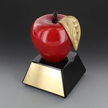 HIGH GLOSS RESIN PAINTED RED & GOLD APPLE TROPHY
