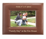 8-1/2 X 6-1/2 INCH HORIZONTAL TAN LEATHERETTE PICTURE FRAME, HOLDS 4 X 6 PHOTO