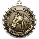 HORSE ANTIQUE FINISH BRASS MEDAL