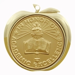 IN HONOR OF ACADEMIC EXCELLENCE APPLE MEDAL - GOLD, SILVER OR BRONZE