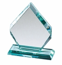 Jade Colored Glass Trophies and Piano Wood Base Trophies