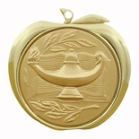 LAMP OF LEARNING AND BOOK APPLE MEDAL - GOLD, SILVER OR BRONZE
