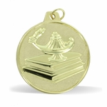 2 INCH LAMP OF LEARNING WITH BOOKS MEDAL, GOLD
