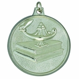 2 INCH LAMP OF LEARNING WITH BOOKS MEDAL, SILVER