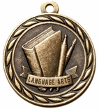 Language Arts Antique Brass Medal