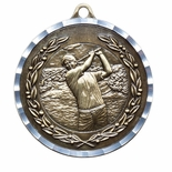 MALE GOLF ANTIQUE FINISH BRASS MEDAL