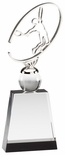 9 3/4 x 3 1/2 METAL TENNIS SCULPTURE ON CRYSTAL BASE WITH BALL