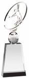 10 3/4 x 3 1/2 METAL TENNIS SCULPTURE ON CRYSTAL BASE WITH BALL