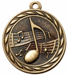 MUSIC MEDAL IN ANTIQUE BRASS, SILVER OR BRONZE