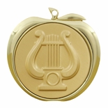 MUSIC LYRE APPLE MEDAL - GOLD, SILVER OR BRONZE