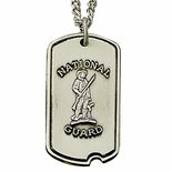 NATIONAL GUARD STERLING SILVER DOG TAG PLAIN BACK FOR ENGRAVING