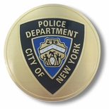 NYC POLICE DEPT., 2 INCH ETCHED ENAMELED