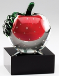 5 X 3-1/2 INCH OPTICAL APPLE CRYSTAL AWARD TROPHY ON BLACK BASE