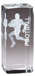 4.5 x 2 CRYSTAL AWARD FOOTBALL PLAYER LASER ENGRAVED INSIDE CRYSTAL