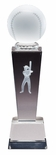 8 3/4 x 2 1/2 CRYSTAL FEMALE SOFTBALL TROPHY WITH LASER ENGRAVED FIGURE INSIDE CRYSTAL