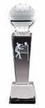8 3/4 x 2 1/2 CRYSTAL FEMALE VOLLEYBALL TROPHY WITH LASER ENGRAVED FIGURE INSIDE CRYSTAL