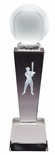 8 3/4 x 2 1/2 CRYSTAL MALE BASEBALL TROPHY WITH LASER ENGRAVED FIGURE INSIDE CRYSTAL
