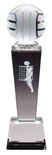 8 3/4 x 2 1/2 CRYSTAL MALE VOLLEYBALL TROPHY LASER ENGRAVED FIGURE INSIDE CRYSTAL