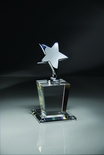 OPTICAL CRYSTAL TROPHY WITH POLISHED METAL SILVER STAR, SIZE 4 X 8 INCH