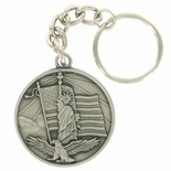 PATRIOTS ANTIQUE SATIN PEWTER KEY CHAIN