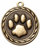 PAW PRINT MEDAL IN ANTIQUE BRASS, SILVER OR BRONZE