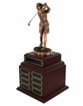 PERPETUAL FEMALE GOLF TROPHY DOUBLE ROSEWOOD BASE, 16 NAME PLATES