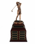 PERPETUAL FEMALE GOLF TROPHY DOUBLE ROSEWOOD BASE, 24 NAME PLATES