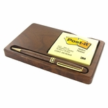 POST-IT PAD WITH POCKET PEN, WALNUT