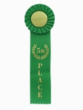 GREEN RIBBON, ROSETTE 5TH PLACE 2 INCH  MYLAR